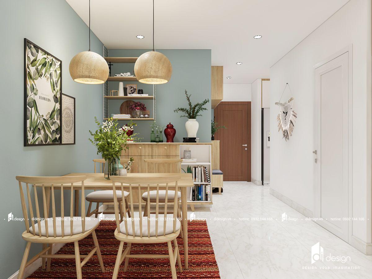 Thiết kế nội thất chung cư 62m2 đẹp tao nhã với sắc màu tươi sáng