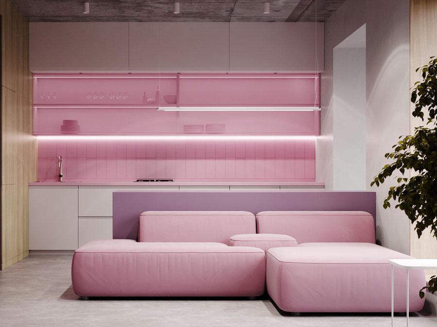 Thiết kế căn hộ chung cư 1 phòng ngủ màu hồng đẹp tuyệt vời